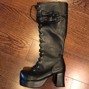 Black platform 15 hole lace up boots